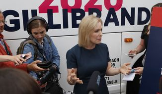 Democratic presidential candidate Sen. Kirsten Gillibrand, D-N.Y., addresses the media after a town hall meeting during a campaign stop in Bloomfield Hills, Mich. (AP Photo/Carlos Osorio)