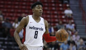 Washington Wizards' Rui Hachimura plays against the Atlanta Hawks in an NBA summer league basketball game Thursday, July 11, 2019, in Las Vegas. (AP Photo/John Locher) ** FILE **