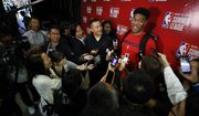 Washington Wizards' Rui Hachimura speaks with the media after playing the Atlanta Hawks in an NBA summer league basketball game Thursday, July 11, 2019, in Las Vegas. (AP Photo/John Locher) ** FILE **
