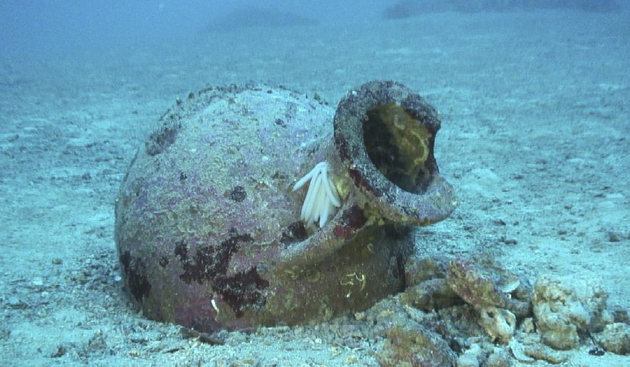 In this undated photo provide by PRM Nautical Foundation on Friday, July 12, 2019, an amphora which dates from between the 7th and 5th centuries BC stands underwater near the shores of the Karaburun peninsula, Albania.  A joint Albanian - American underwater archaeological team said they have found 22 amphoras that are at least 2,500 years old off the Albanian coast, which might yield an ancient shipwreck.(RPM Nautical Foundation via AP)