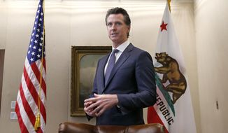 "Gov. Gavin Newsom discusses his decision to fire state Oil and Gas Supervisor Ken Harris while talking with reporter's at his office in Sacramento, Calif., Friday, July 12, 2019. Newsom said he fired Harris, Thursday, July 11, 2019, because he did not ""exercise consistency"" with the governor's opposition to hydraulic fracturing. (AP Photo/Rich Pedroncelli)"