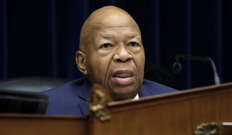 Chairman Elijah Cummings, D-Md., gives opening remarks before the House Oversight Committee hearing on family separation and detention centers, Friday, July 12, 2019 on Capitol Hill in Washington. (AP Photo/Pablo Martinez Monsivais)