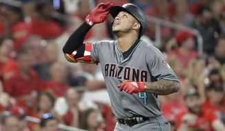 Arizona Diamondbacks' Ketel Marte looks skyward as he rounds the bases after hitting a two-run home run during the eighth inning of the team's baseball game against the St. Louis Cardinals on Friday, July 12, 2019, in St. Louis. (AP Photo/Jeff Roberson)