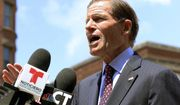 U.S. Sen. Richard Blumenthal speaks to the media Friday, July 12, 2019, in Hartford, Conn., about new legislation he introduced to prevent immigration officers from deporting immigrants living in the country illegally. (AP Photo/Chris Ehrmann)