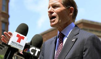 U.S. Sen. Richard Blumenthal speaks to the media Friday, July 12, 2019, in Hartford, Conn., about new legislation he introduced to prevent immigration officers from deporting immigrants living in the country illegally. The proposal aims to hold the U.S. Immigration and Customs Enforcement agency accountable if they violate their own policies of generally avoiding enforcement in safe areas where immigrants can seek refuge like churches, schools and hospitals. (AP Photo/Chris Ehrmann)