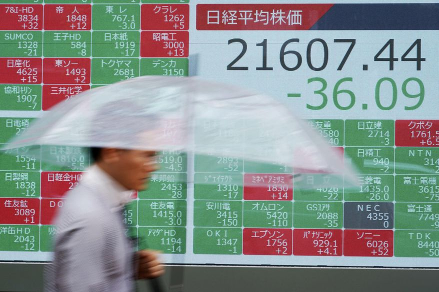 A man walks past an electronic stock board showing Japan's Nikkei 225 index at a securities firm in Tokyo Friday, July 12, 2019. Shares in Asia are mostly higher after a turbulent day on Wall Street ended with the Dow Jones Industrial Average closing above 27,000 for the first time. (AP Photo/Eugene Hoshiko)