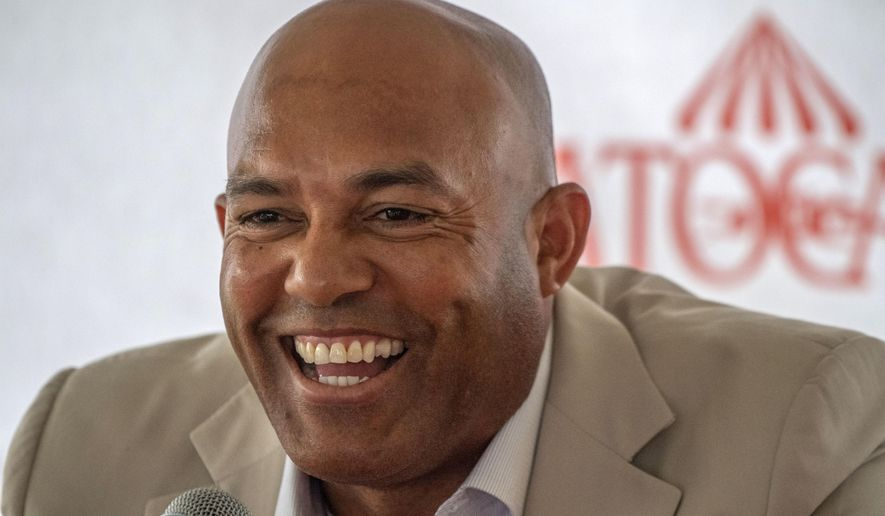 "Mariano Rivera speaks to the media during a visit to Saratoga Race Course on Friday, July 12, 2019, in Saratoga Springs, N.Y. The day's third race was named ""The Mariano Rivera Hall of Fame"" as part of the Spa's tribute to the retired New York Yankees pitcher. (Skip Dickstein/The Albany Times Union via AP)/The Albany Times Union via AP)"