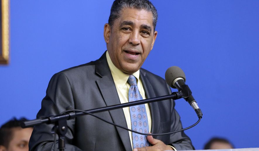 This Jan. 15, 2018, photo shows U.S. Rep. Adriano Espaillat, D-N.Y. speaking at the National Action Network House of Justice, in New York. (Associated Press) **FILE**