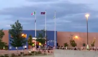 Screenshot of video shot by Matt Mauro, an anchor and reporter at @KDVR FOX31 and @channel2kwgn during the protest outside the Immigration and Customs Enforcement building in Aurora, Colorado, on July 13, 2019. (Image: Courtesy of Matt Mauro. https://twitter.com/mattmauronews/status/1149872804625432576)