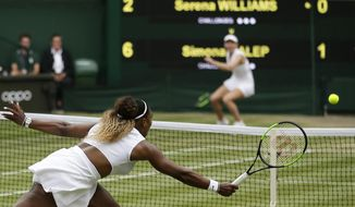 United States' Serena Williams returns the ball to Romania's Simona Halep, background, during the women's singles final match on day twelve of the Wimbledon Tennis Championships in London, Saturday, July 13, 2019. (AP Photo/Tim Ireland) ** FILE **