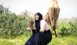 This photo provided by Mona Nalayeh shows Canadian-Somalian journalist Hodan Nalayeh in northern Somalian city of Las Anod.  On Friday, July 12, 2019, the journalist dedicated to telling positive stories from a country suffering through decades of civil war, extremist attacks and famine was killed along with her husband, Farid Jama Suleiman, entrepreneur Mahad Nur and at least 23 others after a bomb exploded outside the Asasey Hotel in the Somalian city of Kismayo and gunmen stormed inside.  Fifty-six other people were wounded in the attack, according to the Jubbaland regional president. (Mona Nalayeh via AP)