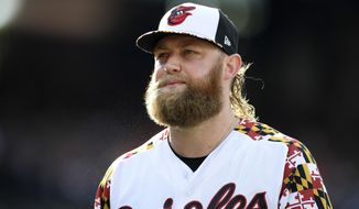 Baltimore Orioles starter Andrew Cashner walks back to the dugout after he pitched the top of the fourth inning of a baseball game against the Cleveland Indians, Saturday, June 29, 2019, in Baltimore. (AP Photo/Nick Wass)