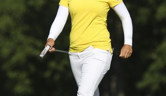 Sei Young Kim smiles as she finishes on the eighteenth hole during the second round of the Marathon LPGA Classic golf tournament Friday July 12, 2019, at Highland Meadows Golf Club in Sylvania, Ohio. (Rebecca Benson/The Blade via AP)