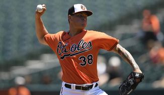 Baltimore Orioles starting pitcher Aaron Brooks delivers a pitch during the first inning of the first baseball game of a split doubleheader against the Tampa Bay Rays, Saturday, July 13, 2019, in Baltimore. (AP Photo/Nick Wass)