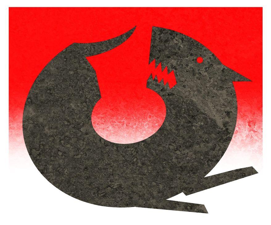 Illustration on circular thinking by Alexander Hunter/The Washington Times