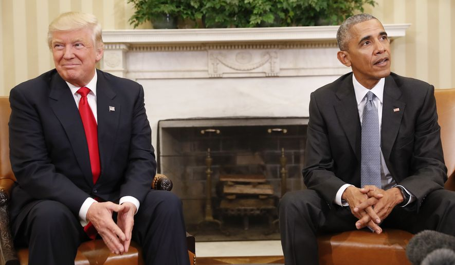 President Barack Obama meets with President-elect Donald Trump in the Oval Office of the White House in Washington, Thursday, Nov. 10, 2016. (AP Photo/Pablo Martinez Monsivais) ** FILE **