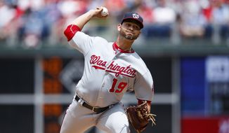 Washington Nationals' Anibal Sanchez pitches during the first inning of a baseball game against the Philadelphia Phillies, Sunday, July 14, 2019, in Philadelphia. (AP Photo/Matt Slocum)