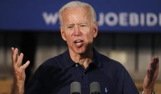 Former Vice President and Democratic presidential candidate Joe Biden, speaks at a campaign stop, Saturday, July 13, 2019, in Londonderry, N.H. (AP Photo/Robert F. Bukaty)