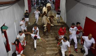 """Revellers run next to fighting bulls during the running of the bulls at the San Fermin Festival, in Pamplona, northern Spain, Sunday, July 14, 2019. The San Fermin fiesta made internationally famous by Ernest Hemingway in his novel """"The Sun Also Rises"""" draws around 1 million partygoers each year.(AP Photo/Alvaro Barrientos)"""
