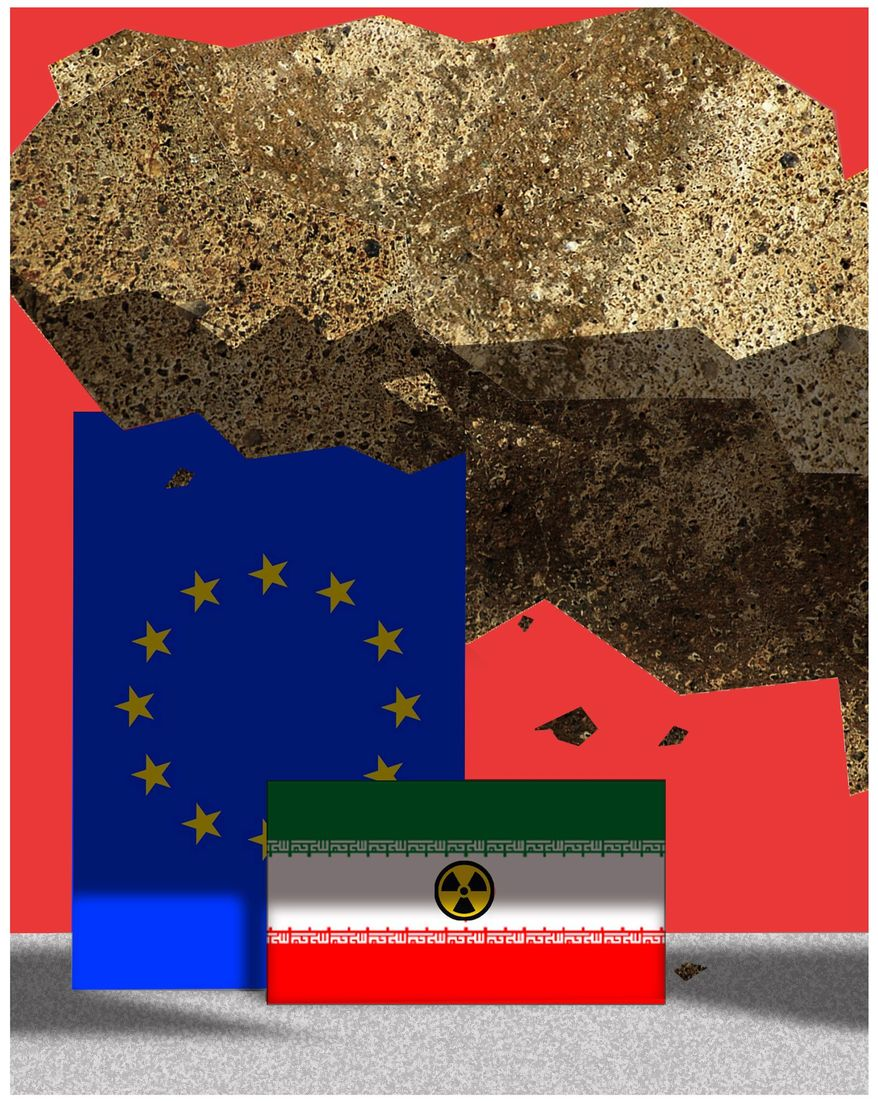 Illustration on Europe's protection of Iran by Alexander Hunter/The Washington Times