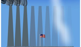 Illustration on industrial change in America by Alexander Hunter/The Washington Times
