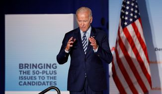 "Democratic presidential candidate Joseph R. Biden on Monday outlined a health care proposal that ties him to President Obama's signature initiative and distances him from rivals in the race who want to replace the current system with ""Medicare for All."" (Associated Press/File)"