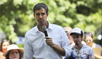 Democratic presidential candidate, Former U.S. Rep. Beto O'Rourke attends Manchester Democrats annual Potluck Picnic at Oak Park in Manchester, N.H., Saturday, July 13, 2019. (AP Photo/ Cheryl Senter)