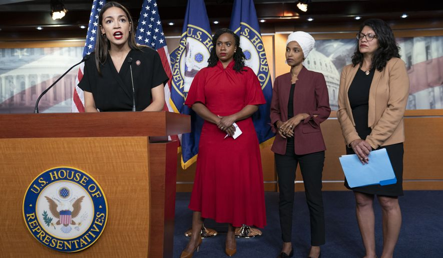 """From left, Rep. Alexandria Ocasio-Cortez, D-N.Y., Rep. Ayanna Pressley, D-Mass., Rep. llhan Omar, D-Minn., and Rep. Rashida Tlaib, D-Mich., respond to remarks by President Donald Trump after his call for the four Democratic congresswomen to go back to their """"broken"""" countries, during a news conference at the Capitol in Washington, Monday, July 15, 2019. All are American citizens and three of the four were born in the U.S. (AP Photo/J. Scott Applewhite)"""
