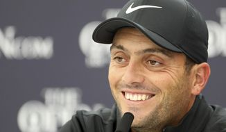 2018 Open winner Francesco Molinari of Italy talks to the media during a press conference at Royal Portrush Golf Club, Northern Ireland, Monday, July 15, 2019. The148th Open Golf Championship begins on July 18. (AP Photo/Peter Morrison) ** FILE **