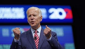 In this July 5, 2019, file photo, Democratic presidential candidate and former Vice President Joe Biden speaks during the National Education Association Strong Public Schools Presidential Forum in Houston. (AP Photo/David J. Phillip, File)