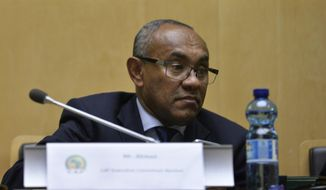 FILE  - In this Thursday, March 16, 2017 file photo, Newly appointed president of the African soccer confederation Ahmad of Madagascar, attends the general assembly of the Confederation of African Football (CAF) in Addis Ababa, Ethiopia. Sport's highest court will rule this month on how to resolve the chaotic African Champions League final. The Court of Arbitration for Sport says it set a July 31, 2019 deadline for a final decision after both clubs appealed to be awarded the title. The second-leg game between Wydad Casablanca of Morocco and Esperance of Tunisia on May 31 was annulled in a dispute provoked by a video review failure. The controversy is part of a wider crisis for CAF and its president, Ahmad of Madagascar, who has been accused of misconduct by senior administrators who were fired in recent weeks and have filed complaints to FIFA's ethics committee. (AP Photo, File)