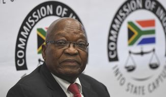 Former South Africa President Jacob Zuma appears before a commission probing allegations of corruption during his tenure as the country's leader as president from 2009 until 2018, in Johannesburg Monday July 15, 2019. Zuma was forced to resign by his ruling African National Congress party over widespread reports of corruption and was replaced by his then deputy Cyril Ramaphosa. (Pool Photo via AP)