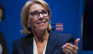 In this Sept. 17, 2018, photo, Education Secretary Betsy DeVos speaks during a student town hall at the National Constitution Center in Philadelphia. (Associated Press) **FILE**