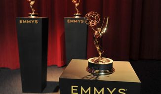 Emmy statuettes appear on stage prior to the start of the 71st Primetime Emmy Nominations Announcements at the Television Academy's Saban Media Center on Tuesday, July 16, 2019, in Los Angeles. (Photo by Richard Shotwell/Invision/AP)