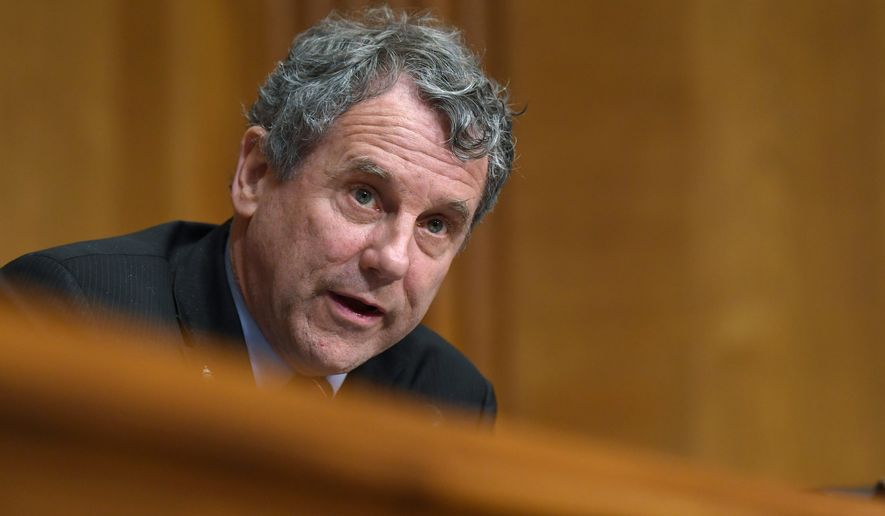 Sen. Sherrod Brown, D-Ohio, speaks during a Senate Finance Committee hearing with pharmacy benefit managers on Capitol Hill in Washington, Tuesday, April 9, 2019, exploring the high cost of prescription drugs. (AP Photo/Susan Walsh) ** FILE **