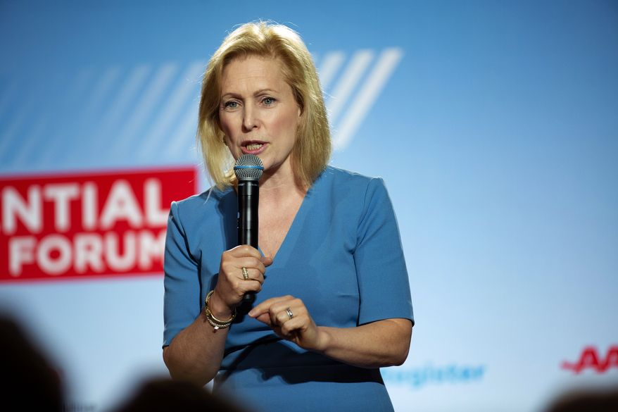 U.S. Sen. Kirsten Gillibrand, D-New York, speaks at the AARP Presidential Forum at the Waterfront Convention Center in Bettendorf, Iowa on Tuesday, July 16, 2019.  (Olivia Sun/The Des Moines Register via AP) ** FILE **