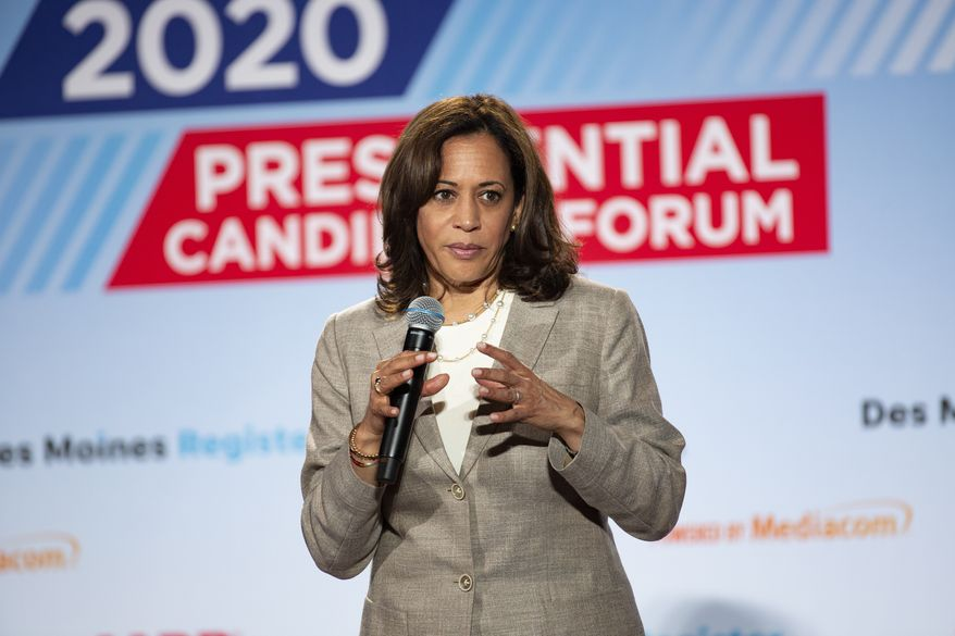 U.S. Sen. Kamala Harris, D-Calif., speaks at the AARP Presidential Forum at the Waterfront Convention Center in Bettendorf, Iowa on Tuesday, July 16, 2019. (Olivia Sun/The Des Moines Register via AP)