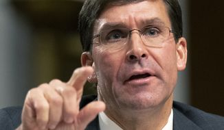 Secretary of the Army and Secretary of Defense nominee Mark Esper testifies before a Senate Armed Services Committee confirmation hearing on Capitol Hill in Washington, Tuesday, July 16, 2019. (AP Photo/Manuel Balce Ceneta)
