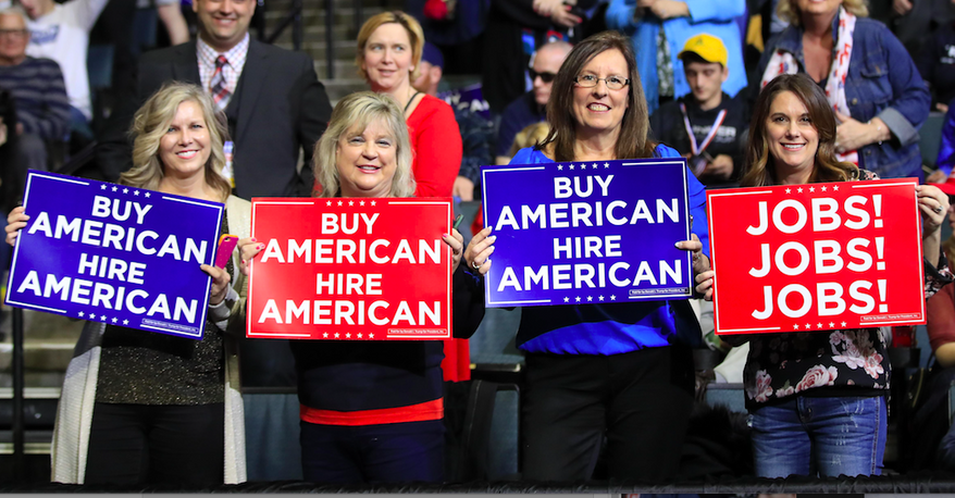 Women wait for President Donald Trump to speak at a Michigan rally earlier this year. (AP Photo/Manuel Balce Ceneta) ** FILE **
