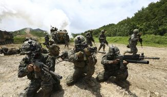 In this July 6, 2016, file photo, South Korean and U.S. Marines aim their machine guns during a joint military exercise between the two countries in Pohang, South Korea. North Korea on Tuesday, July 16, 2019, says it is rethinking whether to abide by its moratorium on nuclear and missile tests and other steps aimed at improving ties with the U.S. (Kim Joon-bum/Yonhap via AP, File)