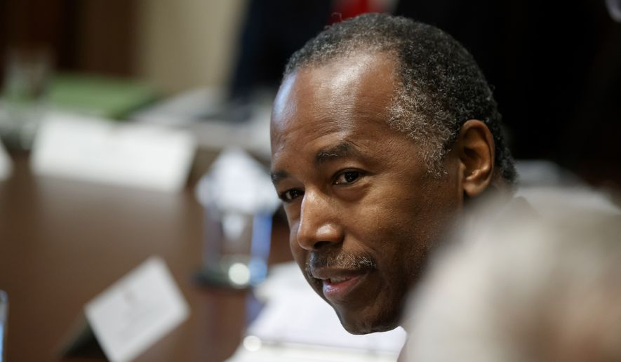 Housing and Urban Development Secretary Ben Carson speaks during a Cabinet meeting in the Cabinet Room of the White House, Tuesday, July 16, 2019, in Washington. (AP Photo/Alex Brandon) **FILE**