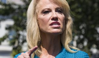 Counselor to the President Kellyanne Conway speaks with reporters at the White House, Tuesday, July 16, 2019, in Washington. (AP Photo/Alex Brandon)