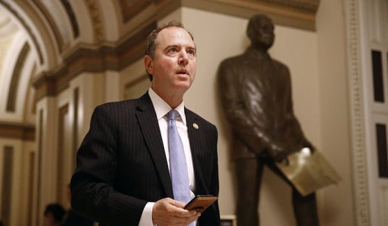 Rep. Adam Schiff, D-Calif., walks out of the House Chamber, Tuesday, July 16, 2019, on Capitol Hill in Washington. (AP Photo/Patrick Semansky) ** FILE **