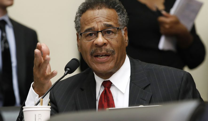 In this June 27, 2018, file photo, Rep. Emanuel Cleaver, D-Mo., asks a question of Housing and Urban Development Secretary Ben Carson during a House Financial Services Committee hearing on Capitol Hill in Washington. (AP Photo/Jacquelyn Martin) ** FILE **