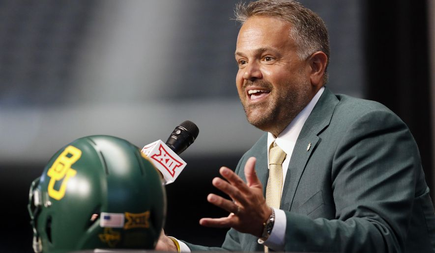 Baylor head coach Matt Rhule speaks during Big 12 Conference NCAA college football media day Tuesday, July 16, 2019, at AT&T Stadium in Arlington, Texas. (AP Photo/David Kent) ** FILE **