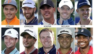 FILE - These are 2018 and 2019 file photos showing some of the golfers competing in the British Open golf tournament. Shown are: Rickie Fowler, Dustin Johnson, Brooks Koepka, Rory McIlroy, Justin Rose, Xander Schauffele, Adam Scott, Jordan Spieth, Gary Woodland and Tiger Woods. (AP Photo/File)