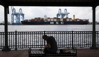 FILE - This June 18, 2019, file photo shows a container ship on the Delaware River in Philadelphia. The Trump administration blasted a World Trade Organization decision Tuesday, July 16, that could let China levy sanctions on the United States. (AP Photo/Matt Rourke, File)