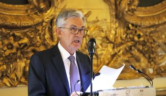 U.S. Federal Reserve Chairman Jerome Powell speaks during a dinner hosted by the Bank of France in Paris, Tuesday, July 16, 2019. (AP Photo/Michel Euler) ** FILE **