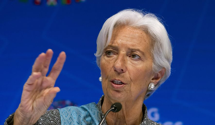 In this April 13, 2019, file photo, International Monetary Fund (IMF) Managing Director Christine Lagarde speaks during a news conference after the International Monetary and Financial Committee (IMFC) conference at the World Bank/IMF Spring Meetings in Washington, Lagarde said Tuesday, July 16, 2019, she will resign as managing director of the International Monetary Fund in light of her nomination to be the next president of the European Central Bank. (AP Photo/Jose Luis Magana, File)
