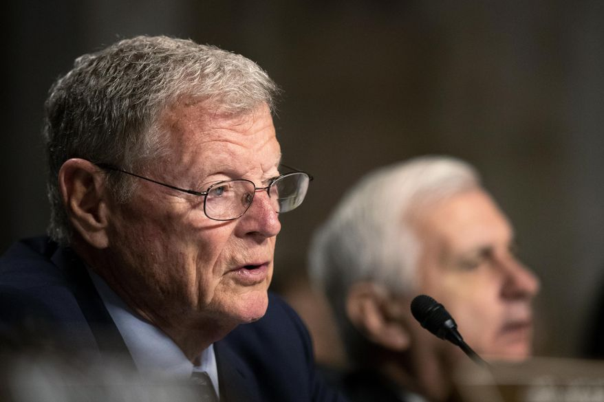Senate Armed Services Committee Chairman Sen. James Inhofe, R-Okla., with ranking member Sen. Jack Reed, D-R.I., right, questions Secretary of the Army and Secretary of Defense nominee Mark Esper during his confirmation hearing on Capitol Hill in Washington, Tuesday, July 16, 2019. (AP Photo/Manuel Balce Ceneta) **FILE**